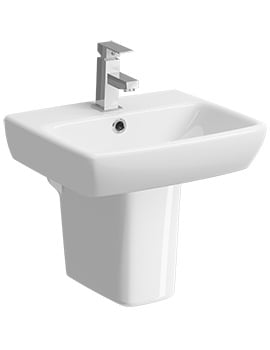 Twyford E100 Square 1 Tap Hole 450 x 350mm Washbasin With Semi Pedestal