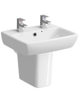 Twyford E100 Square 2 Tap Hole 450 x 350mm Washbasin With Semi Pedestal