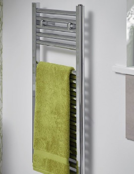 Essential Space Saving 400 x 1230mm Straight Chrome Towel Warmer