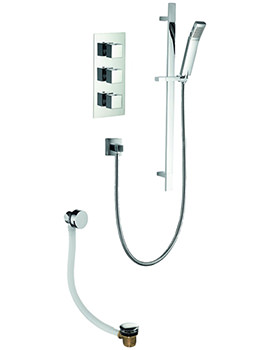 Pura Bloque2 Triple Thermostatic Valve With Slide Rail Kit And Bath Filler