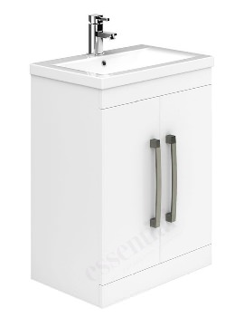 Essential Nevada 600mm White 2 Door Vanity Unit And Basin