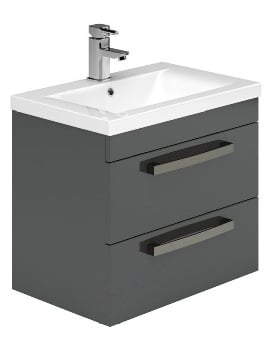 Essential Nevada 600mm Grey 2 Drawers Wall Hung Vanity Unit And Basin