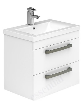 Essential Nevada 600mm White 2 Drawers Wall Hung Vanity Unit And Basin