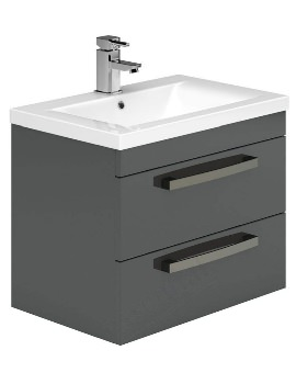 Essential Nevada 800mm 2 Drawers Wall Hung Vanity Unit And Basin Grey