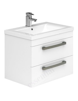 Essential Nevada 800mm 2 Drawers Wall Hung Vanity Unit And Basin White