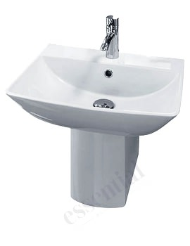 Essential Jasmine 500mm Basin And Small Pedestal