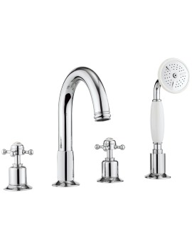 Crosswater Belgravia Chrome 4 Hole Bath Shower Mixer Tap With Kit