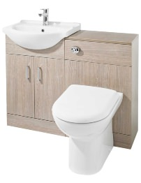 Lauren Saturn Light Oak Finish Furniture Pack With Standard Basin