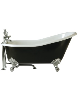Heritage Kent 2 Taphole Cast Iron Bath With Feet 1550 x 765mm
