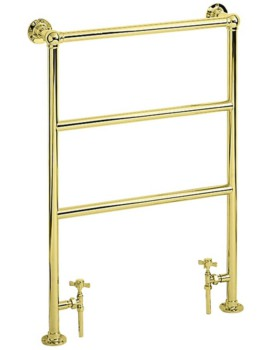 Heritage Victorian Heated Towel Rail 675mm In Vintage Gold Finish