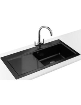 Franke Mythos MTK 611 DP - Ceramic Black Left Drainer Sink And Tap