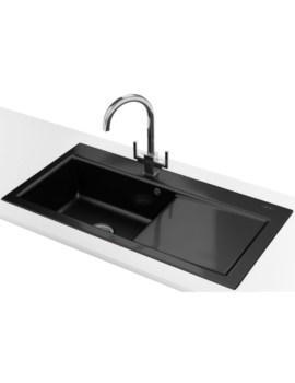 Franke Mythos MTK 611 DP - Ceramic Black Right Drainer Sink And Tap