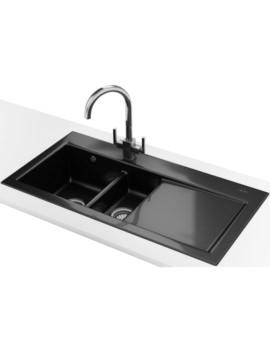 Franke Mythos MTK 651 DP - Ceramic Black Right Drainer Kitchen Sink And Tap