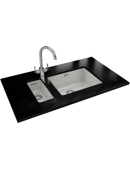 Franke Kubus DP KBG 110 16 + KBG 110 50 Fragranite Polar White Sink And Tap