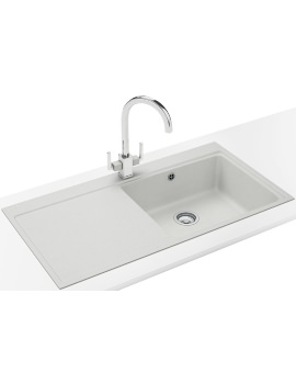 Franke Mythos MTG 611 DP - Fragranite Polar White Left Drainer Sink And Tap
