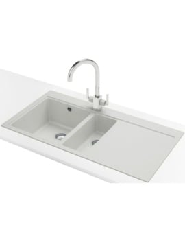 Franke Mythos MTG 651-100 DP - Fragranite Polar White 1.5B RHD Sink And Tap