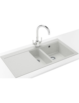 Franke Mythos MTG 651-100 DP - Fragranite Polar White 1.5B LHD Sink And Tap