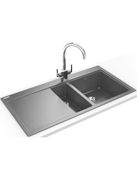 Franke Mythos MTG 651-100 DP - Fragranite Stone Grey 1.5B LHD Sink And Tap