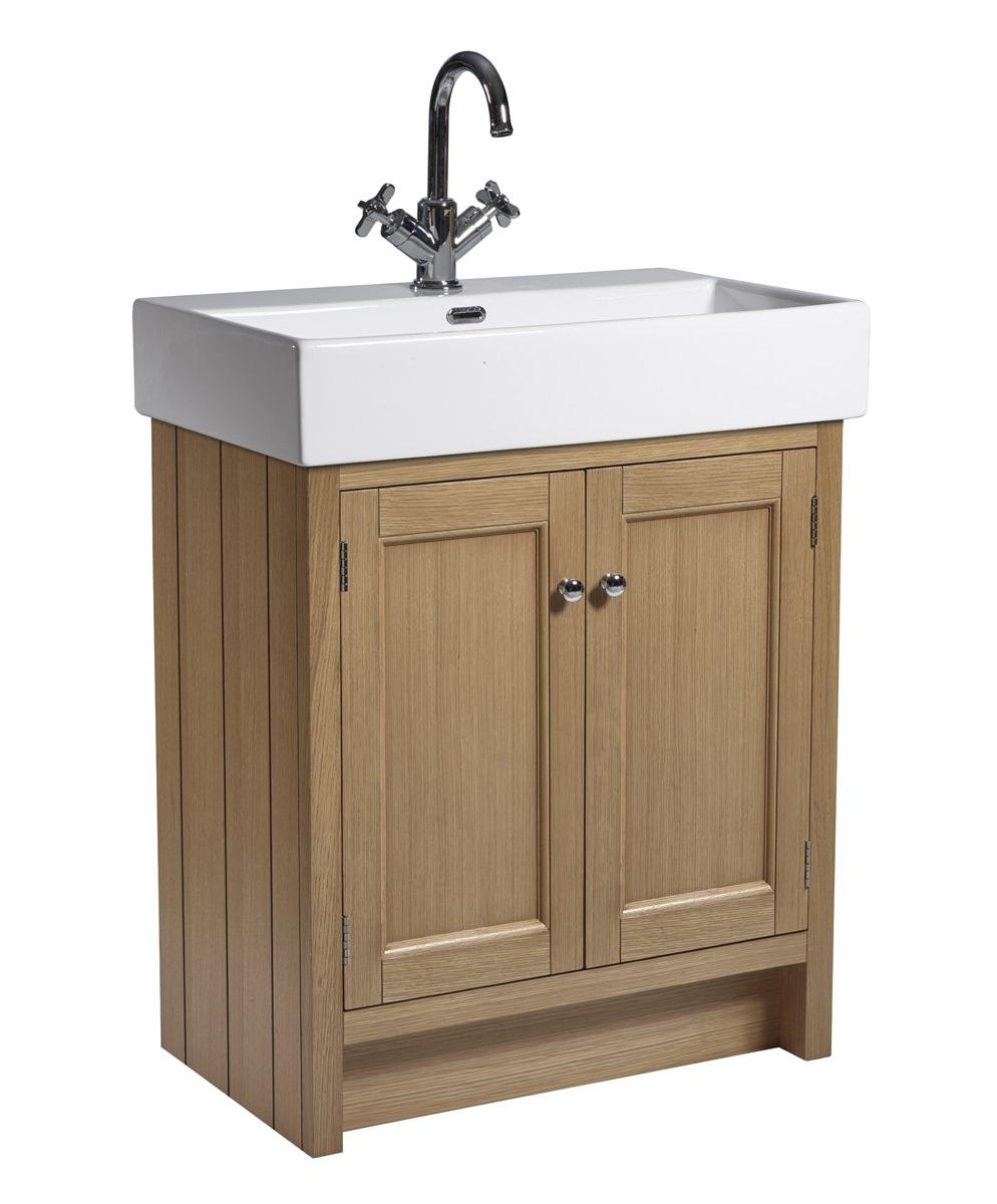 Roper rhodes hampton 700mm natural oak vanity unit with basin for Bathroom cabinets 700mm