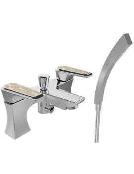 Heritage Lymington Bath Shower Mixer Tap With Lace Gold Handles