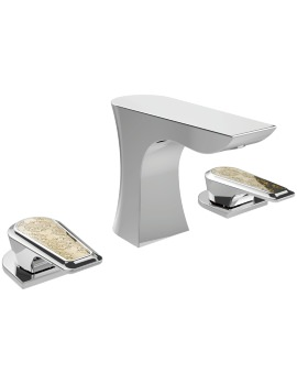 Heritage Lymington 3 Taphole Basin Mixer Tap With Lace Gold Handles
