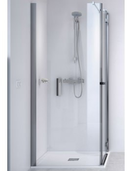 Aqualux ID Match Square Hinge Shower Door With Side Panel 1000 x 1000mm