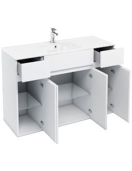 Britton Aqua Cabinets D450 White 600mm Vanity Unit With 2 x 300mm Cupboard Unit