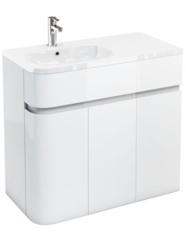 Britton Aqua Cabinets D450 Arc White 900mm Left Hand Cabinet With Basin