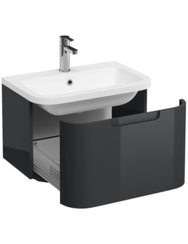 Britton Aqua Cabinets Compact Grey 600 1 Drawer Wall Hung Basin Vanity Unit
