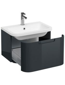 Britton Aqua Cabinets Compact Black 600 1 Drawer Wall Hung Basin Vanity Unit