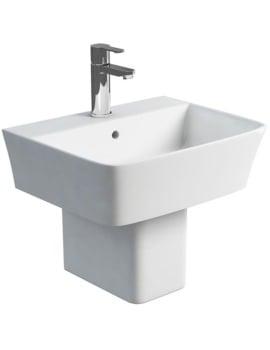 Britton Fine S40 Wash Basin 50cm And Square Fronted Semi Pedestal
