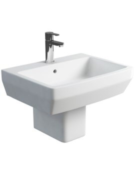 Britton Cube S20 White 600mm Basin And Square Semi Pedestal