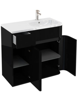 Britton Aqua Cabinets D450 Arc Black 900mm Right Hand Cabinet With Basin