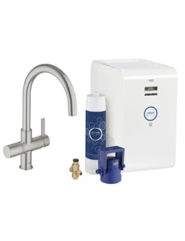 Grohe Blue Single Lever C-Spout Kitchen Sink Mixer Tap Supersteel