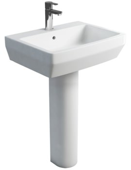 Britton Cube S20 White 600mm Basin With Round fronted Pedestal