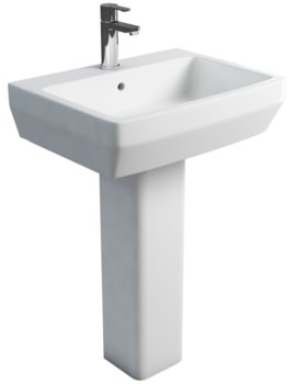 Britton Cube S20 White 600mm Basin With Square Full Pedestal