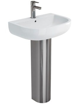 Britton Compact 550mm Washbasin And Stainless Steel Full Pedestal