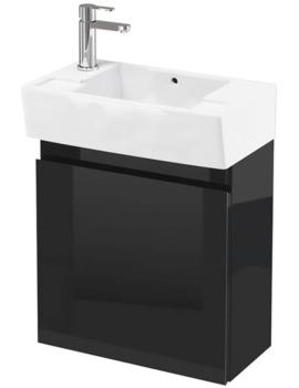 Britton Aqua Cabinets Compact 250 Grey Wall Unit And LH Cloakroom Basin