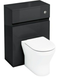Britton Aqua Cabinets D300 Black 600mm Wall Hung WC Unit With Push Button