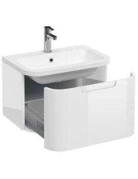 Britton Aqua Cabinets Compact White 600 1 Drawer Wall Hung Basin Vanity Unit