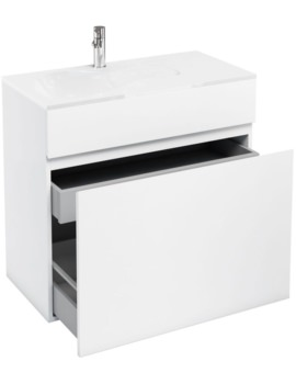 Britton Aqua Cabinet D450 White Double Drawer Unit With 900mm LH Basin