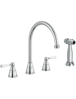 Abode Astbury 3 Hole Kitchen Mixer Tap With Handspray Chrome