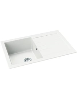 Abode Xcite Frost White Granite Single Bowl And Drainer Inset Kitchen Sink