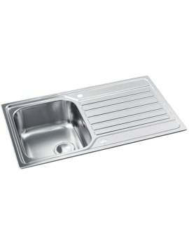 Abode Connekt Stainless Steel Single Kitchen Bowl And Drainer Inset Sink