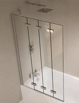 April Prestige 965 x 1500mm Frameless 4 Fold Bath Screen