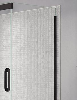 April Prestige Frameless 900mm Clear - Black Side Panel For Shower Enclosure