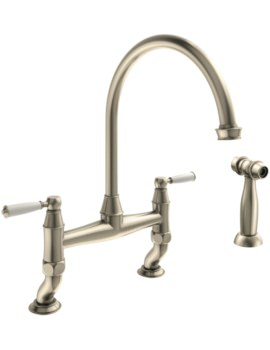 Abode Astbury Bridge Mixer Tap With Independent Handspray - Pewter