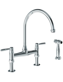 Abode Brompton Bridge Mixer Tap With Independent Handspray Chrome