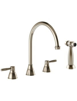 Abode Brompton 3 Part Kitchen Mixer Tap With Handspray Pewter