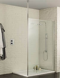 Aquadart Wetroom 8 Walk-In 800mm Shower Panel With Ceiling Post